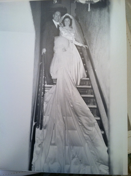 13 feet of Satin train on Tessie wedding gown.  1948