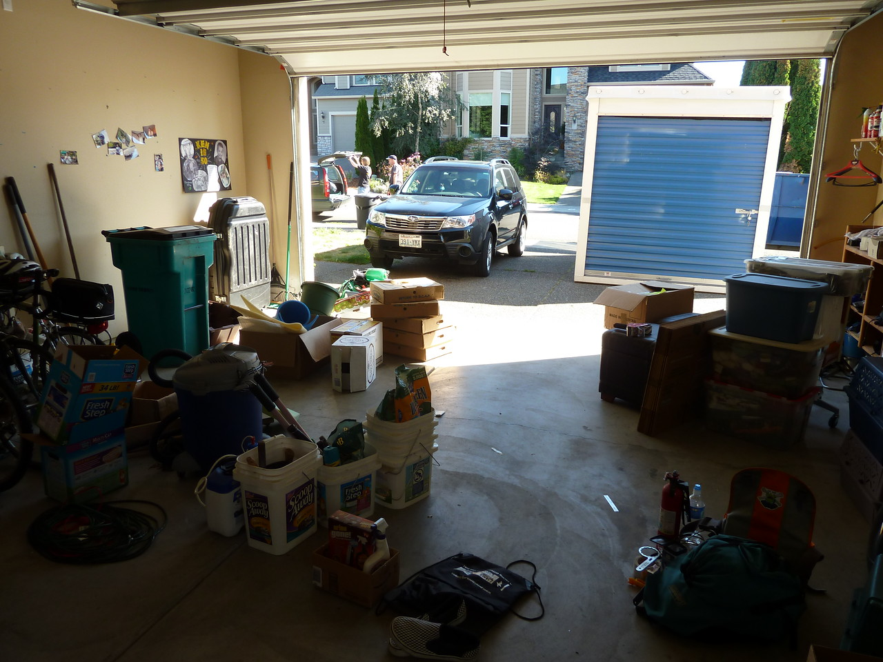 Sorted piles in garage. Stuff for Dean and Ted, stuff for the POD, donations, garbage, much more.