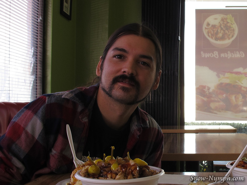 Dec 1, 2011  Lunch with my son Shaun at Aloha Teriyaki. His hair is way longer than mine, someday I'll get a pic with his hair down. :-)