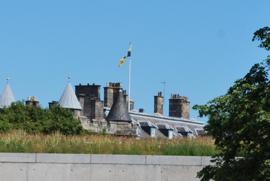 See the flag atop the Palace? The Queen's in Edinburgh.