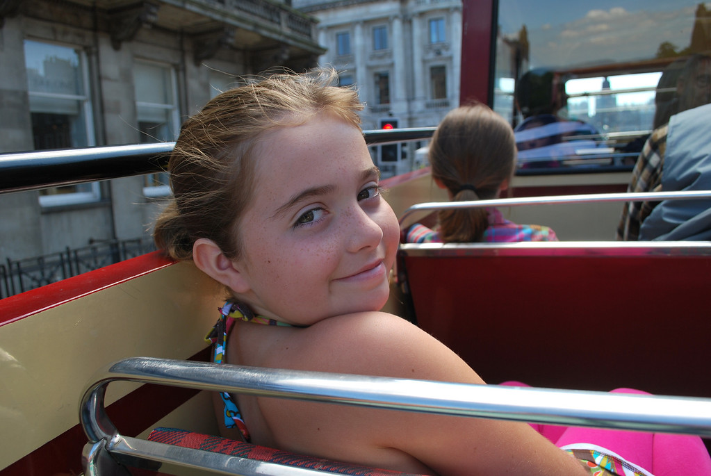 Enjoying her ride on a doubledecker bus on a rare sunny day in Edinburgh.