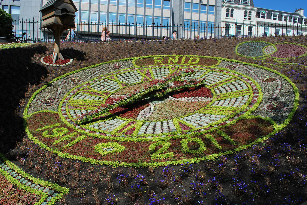 The flower clock in Princes Street Gardens.
