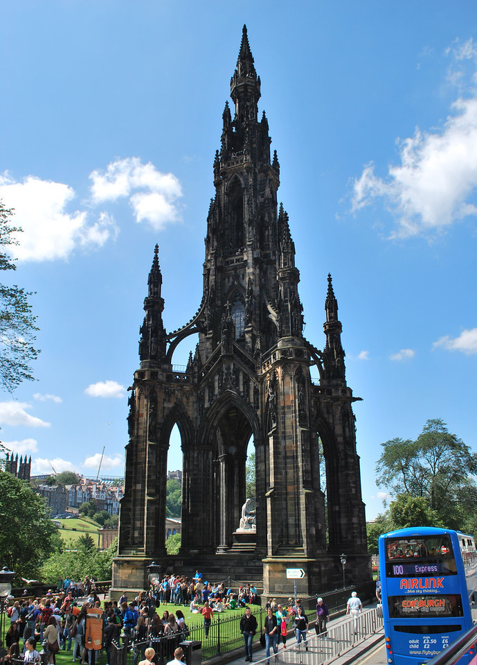 Scott Monument - named for Sir Walter Scott, novelist-playwrite-poet - in Princes Gardens.