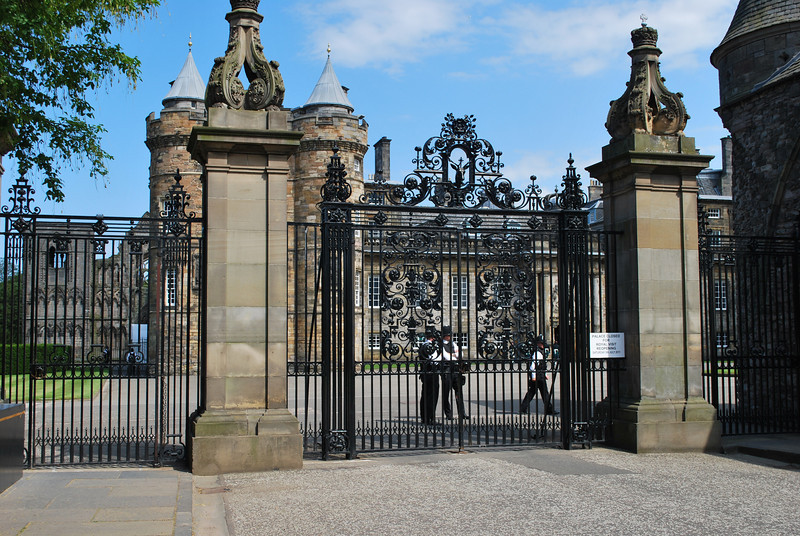 The gates at Hollyrood Palace - the Queen's home in Edinburgh.