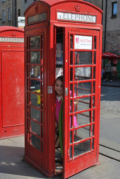 """Since you rarely see a telephone booth in the States anymore, the quintessential """"British Telephone Box"""" held particular interest to Sabrina!"""