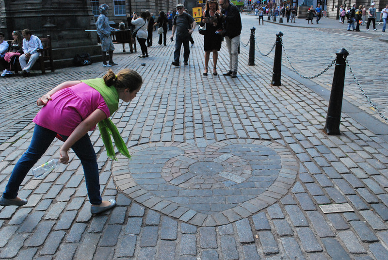 Heart of Midlothian - was once an entrance to a prison, historically people spit on it out of disdain, it is now thought to be good luck although another legend says spitting on the heart means you'll return to Edinburgh. I guess Sabrina's coming back!
