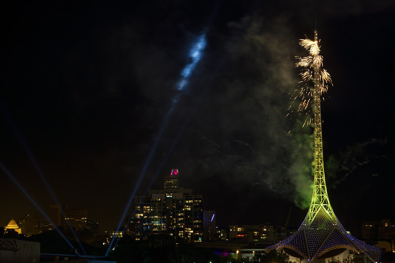 It's hard to tell whether the fire at started at this stage (12:07). But even once it was well underway it didn't significantly spoil the fireworks launching from the spire.
