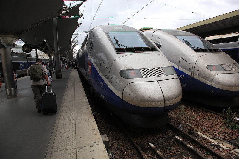 This is our TGV from Gare de Lyon to Annecy. Beware: if your train is scheduled to leave at (say) 14:50, it will leave at the start of the minute of departure, not at the end. (We had about 15 minutes to spare.)