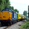 37604 with 37603 tailing head out of Hull at Chalk Lane CCTV crossing running as 2Q88 0554 Doncaster West Yard - Hunslet Tilcon test train shame the weather was not like last week full glorious sun.