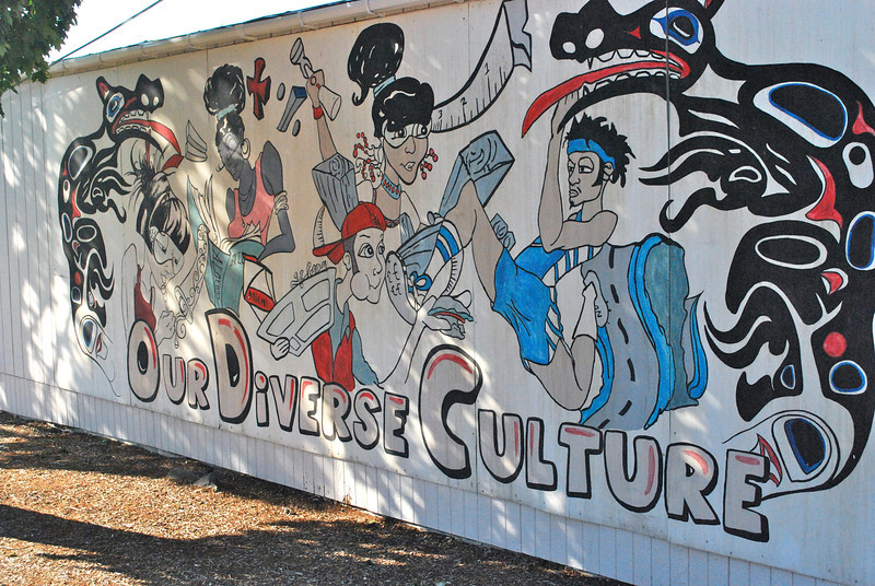 The mural as seen in the background of outdoor shots in Twilight at Kalama HS.