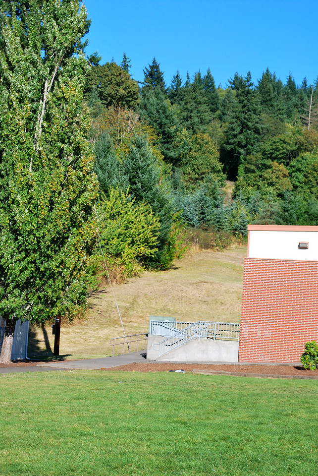 The back of the campus at Kalama, Oregon's HS - this was where the scene of Edward following Bella into the woods was shot. In the movie a bush was put in front of the electrical box.