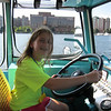 Syl driving the Duck Boat, Charles River, Cambridge