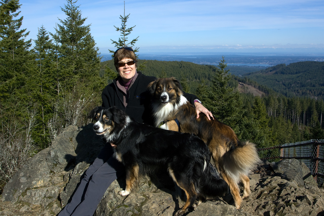 Jo and the dogs on top of Green Mountain.