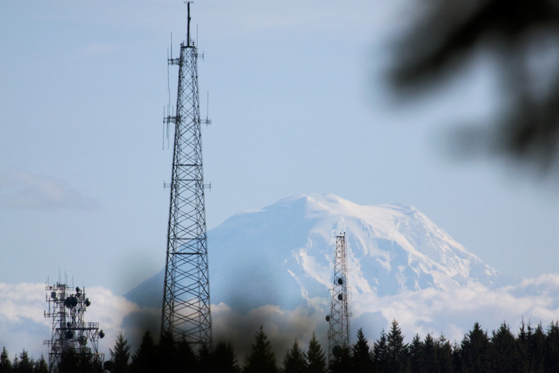 Peek a boo view of Mount Rainier from Green Mountain.