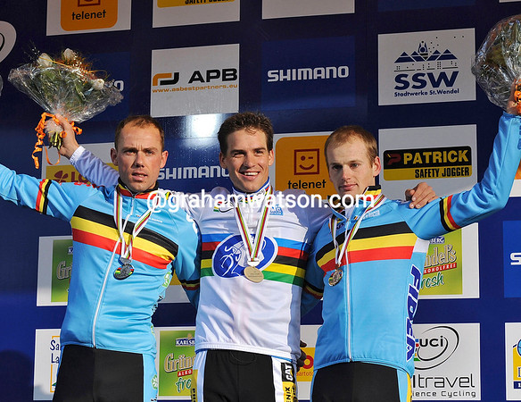 Stybar celebrates for the second year running - he has Nijs and Pauwels on the podium this time...