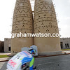 Albert Timmer flies through a cobbled bend behind the new Cultural Centre in Doha...