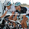 Fabian Cancellara and Daniele Bennati are talking tactics about the day's finale - Cancellara could become race-leader if they can stop Boonen winning..!