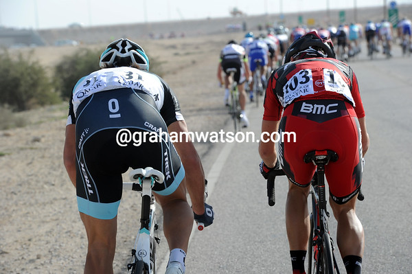 On twisty roads, Fabian Cancellara is struggling to stay in touch as the hammer continues to go down...