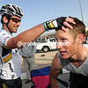 Cavendish cheers his friend and teamate, despite losing ground with a puncture 20-kilometres from the end...
