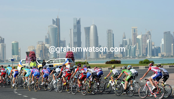 The peloton arrives in Doha, with its futuristic skyline still growing year after year...