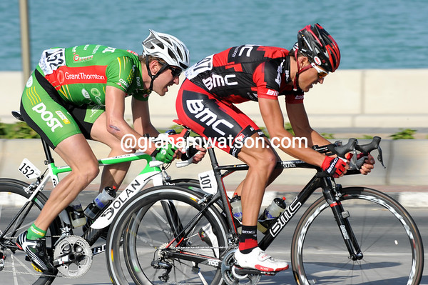 Van Avermaet and McNally are on the Al Corniche circuit, about four minutes ahead of the chasers...