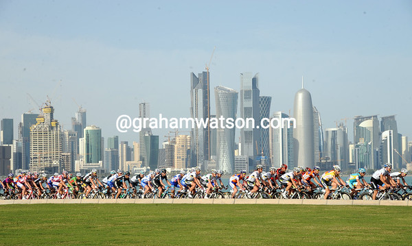 No time for anyone to enjoy Doha's stunning buildings...