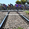 The peloton is staying firmly on the rails as it pursues the three-man escape...