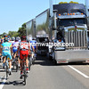 The good news is that this mighty trans-Australia truck is stationary as the peloton leaves the start..!