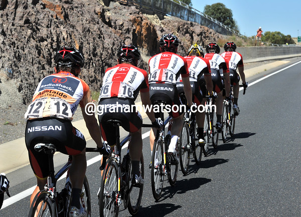 Radio Shack is the team now in charge, with Robbie McEwen race-leader and their leader...