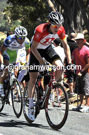 Ben Hermans is on the front at the summit of Checkers Hill - he's part of a Shack plan to get McEwen a time bonus at the up-coming sprint...