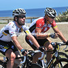 Lance Armstrong himself is enjoying a quiet chat with his mate Mark Cavendish at the back of the peloton...