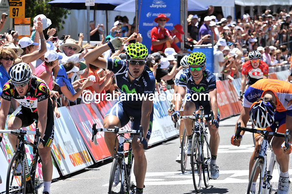 Francisco Ventoso wins stage five into Willunga from Michael Matthews and Matthew Goss...
