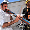Jose Luis Arrieta practises some Aboriginal music after his Movistar team won the team prize...