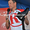 Lance Armstrong thanks the crowd after getting a pair of RM Williams shoes as a farewell gift..!