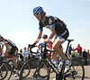 The Hero of Roubaix, Johan Van Summeren,  climbs a hill about halfway through the day...