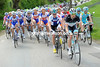 Anders Lund leads the peloton in pursuit for Leopard-Trek...