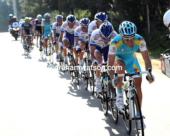 The main group has split on the nasty descents to Porto Vecchio - Astana leads a chasing group behind Voigt with 20-kilometres to go...