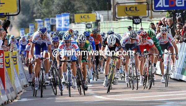 The sprint into Porto Vecchio reaches its zenith in the last 100-metres...