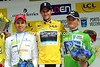 Frank Schleck shares the winner's podium with Vasilli Kiryienka and Rein Taaramae...