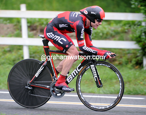 """Cadel Evans produced a steady ride to take 6th place, 1' 20"""" down - he is now 2nd overall..."""