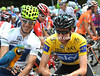 Bradley Wiggins and Alberto Rui Costa have found fome pre-stage entertainment at the Parc des Oiseaux...