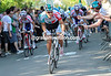 Philippe Gilbert presses hard on the pedals and pulls away on the Mur de Huy...
