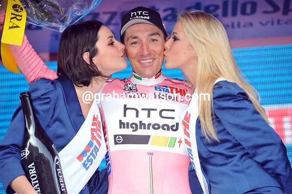 Kisses for the Maglia Rosa - Marco Pinotti is the first race-leader of the 2011 Giro d'Italia...