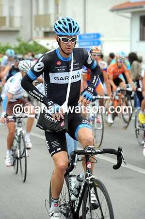 David Millar takes on his feed-bag halfway through the stage - he has a secret plan to attack close to the finish...