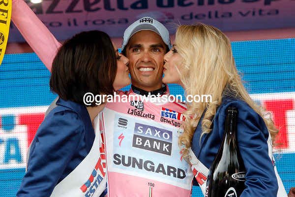 Alberto Contador can afford to smile as well - he's already a minute ahead of his nearest rival on G.C..!