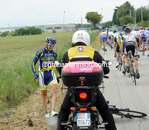 Borut Bozic's day begins in a ditch, just two-kilometres into the race..!