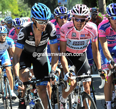 Millar seems to be negotiating something with Contador - perhaps a chance for LeMevel to take the Maglia Rosa for a few days..?