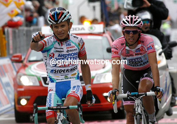 """""""Gracias Alberto"""" - Jose Rujano takes an uncontested win at Grossglockner, but Contador now leads overall by over three minutes..!"""