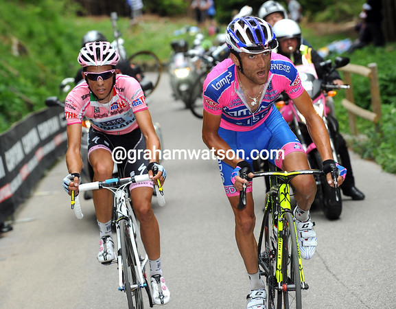 Rodriguez is leading but being chased by Michele Scarponi who has an unwilling companion in Contador...