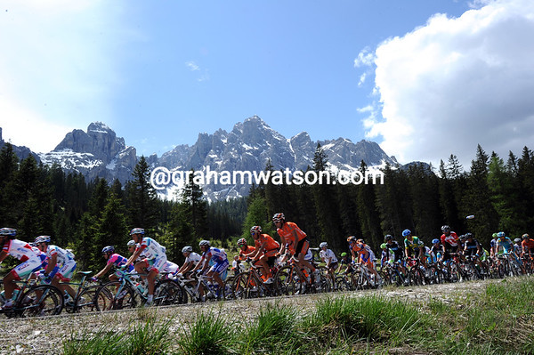 The peloton has more than enough time to enjoy the Italian Dolomites today...